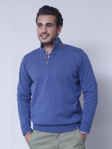 blue-full-sleeve-mock-neck-with-leather-detailing-front