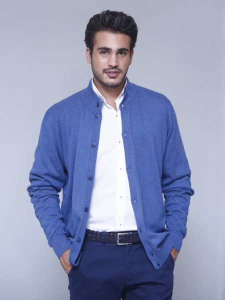 blue-full-sleeve-button-cardigan-front