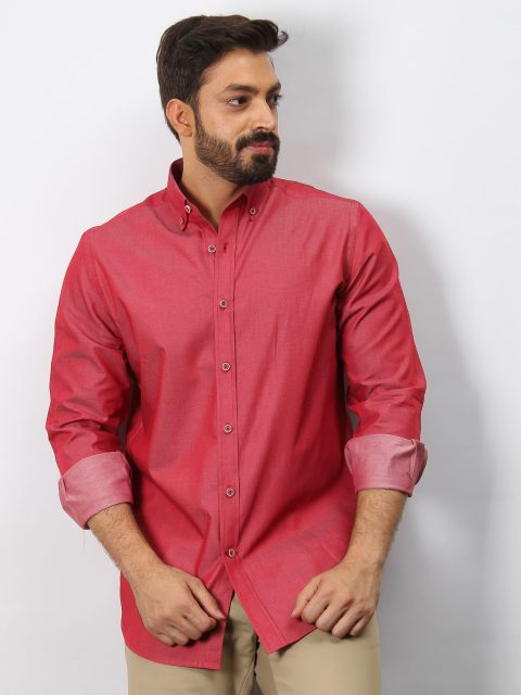 Red Casual Shirt With Elbow Patch