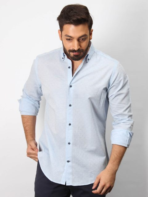 Cotton/Linen Blended Blue Shirt