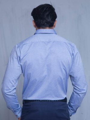 Blue Chambrey Printed Shirt