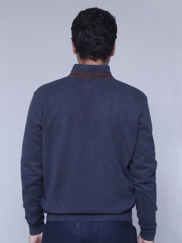 Dark Grey Full sleeve mock neck with leather detailing
