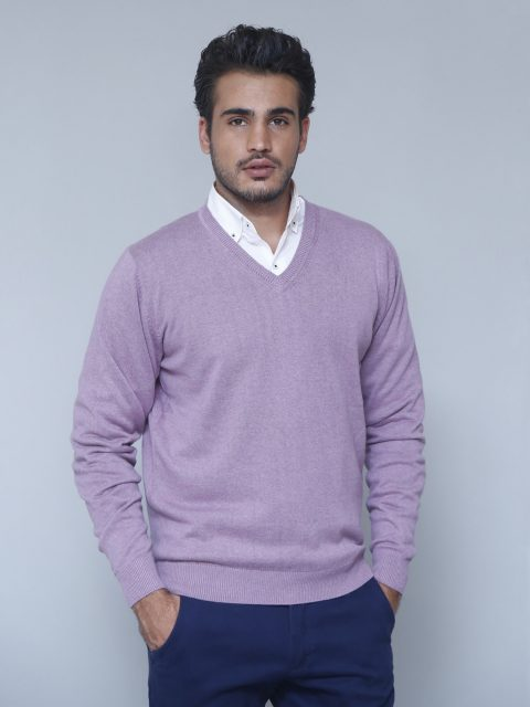 Mauve Fullsleeve V-neck Sweater