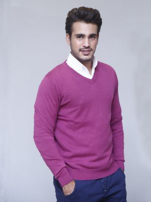 Magenta Fullsleeve V-neck Sweater