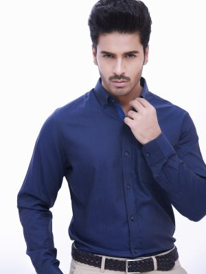 Detailed Navy Blue Shirt