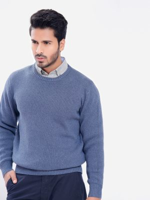 Blue Round Neck Textured Jumper