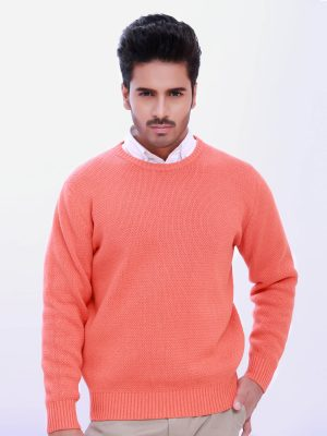 Orange Round Neck Textured Jumper