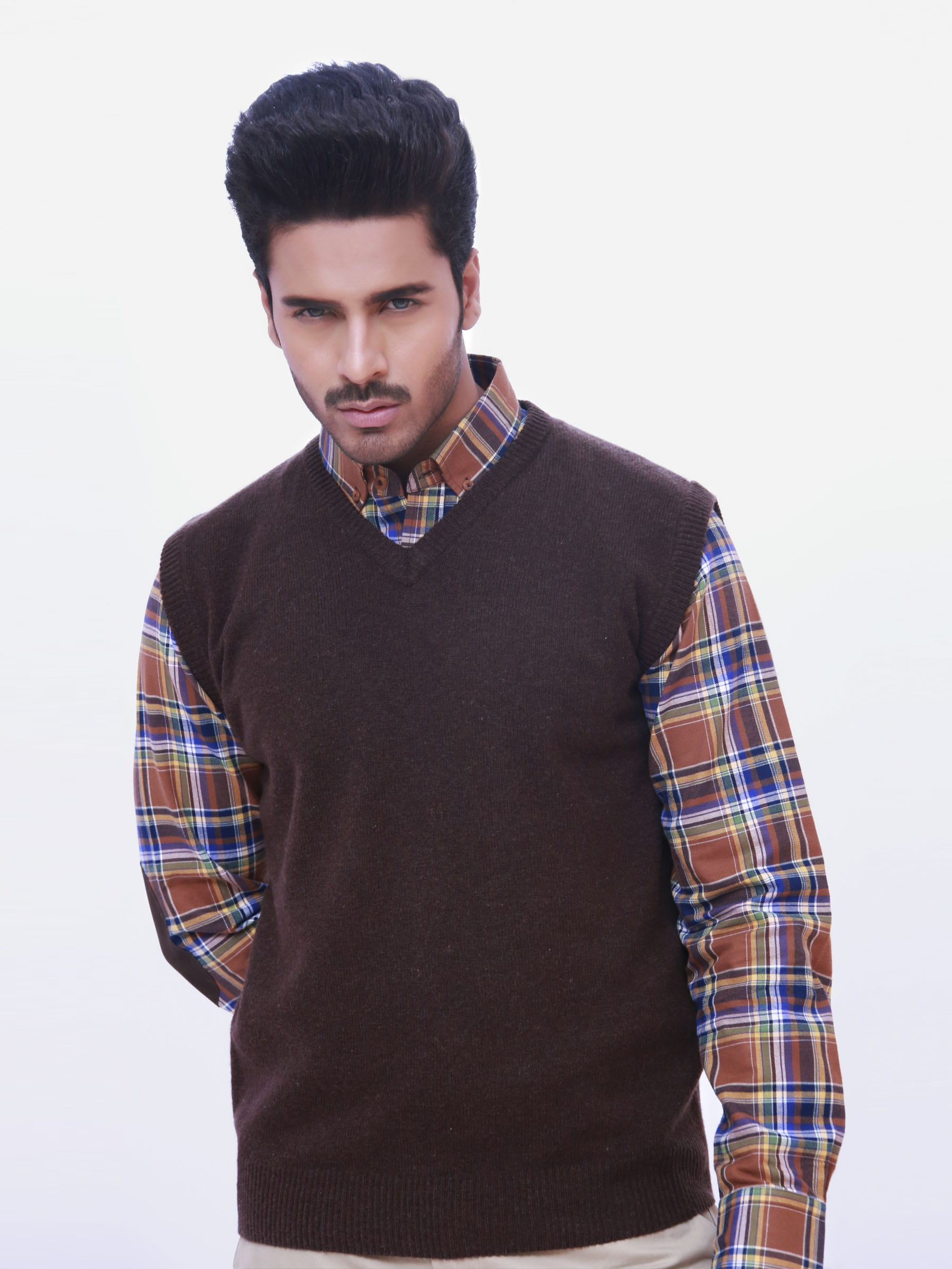 Lambswool Brown Sleeveless Sweater Brumano