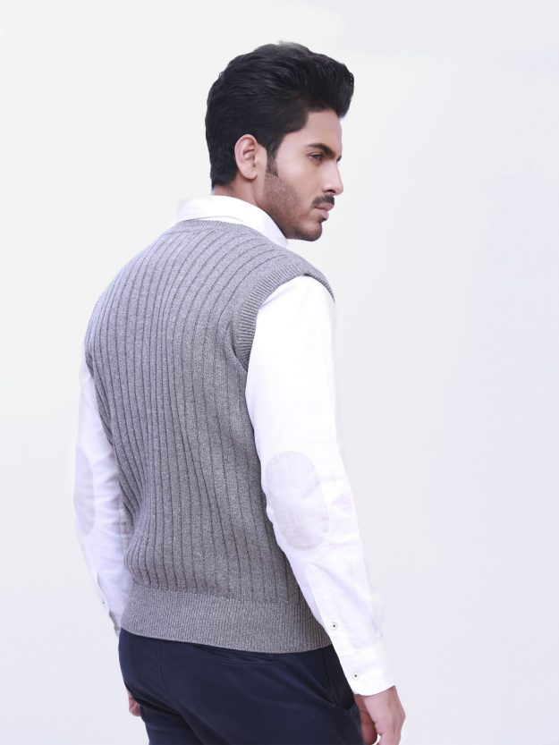 Sleeveless Grey Cable Knit Sweater