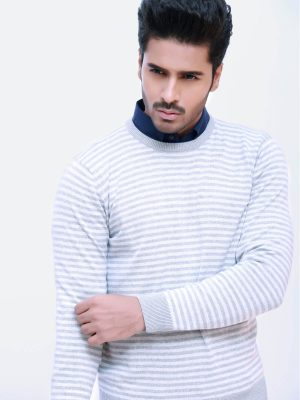 Grey Striped Crew Neck Sweater