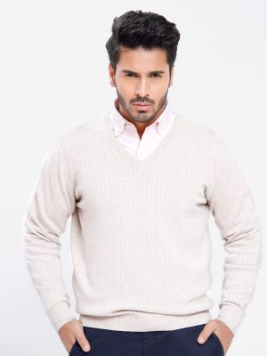 Full sleeve textured beige sweater