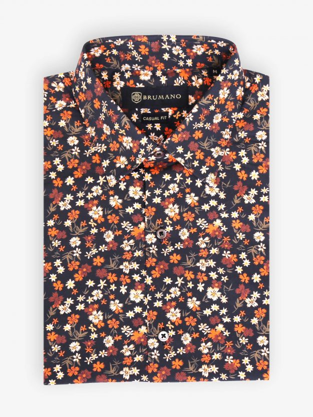 Orange Floral Printed Shirt