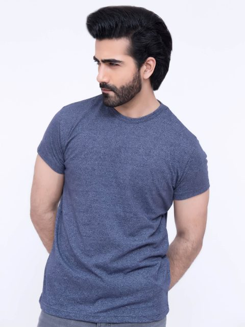 Blue Marl Round Neck T-Shirt