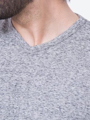 Grey Textured V-Neck T-shirt