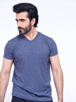 Basic Navy Blue V- Neck T-Shirt - 1