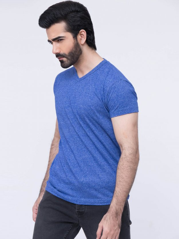 Basic Royal Blue V-Neck T-Shirt