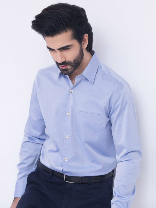 Blue Pointed Collar Shirt