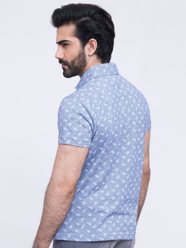 Blue Printed Polo Shirt