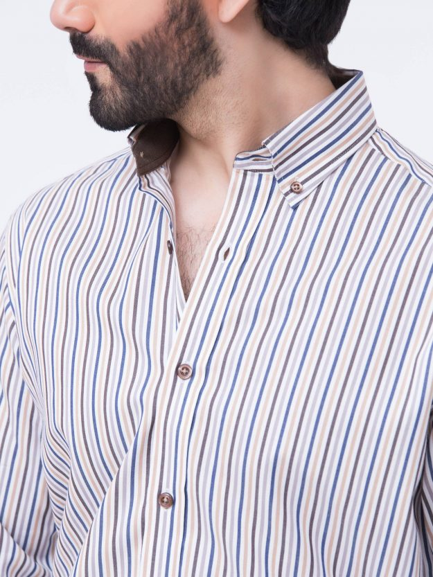 Brown Multi Colored Striped Shirt