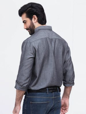 Grey Stripe Denim Shirt