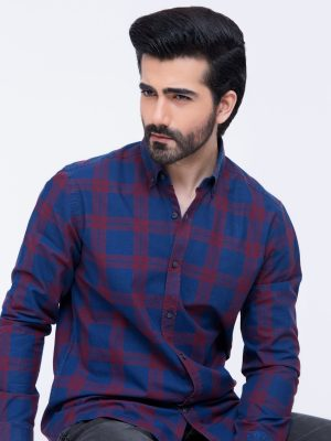 Blue & Red Casual Check Shirt