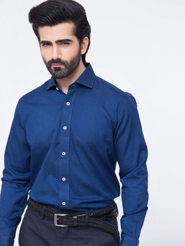 Fine Indigo Twill Shirt with cutaway collar-1-min
