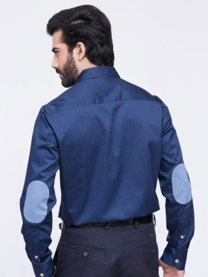 Blue Satin Shirt With Elbow Patch