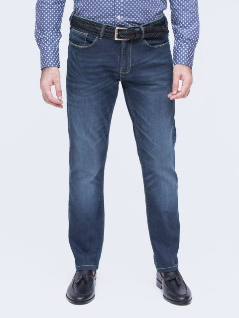 Stone Wash Slim Fit Navy Blue Jeans