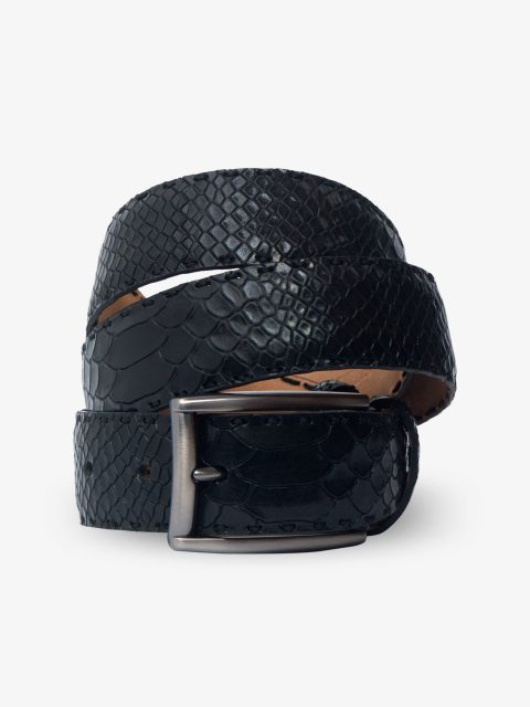 Black Embossed Leather Belt-4