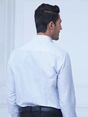 Blue & White Linen Striped Shirt