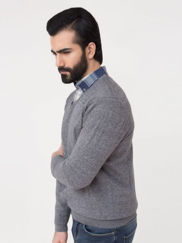 Anthracite Grey V-Neck Sweater-3