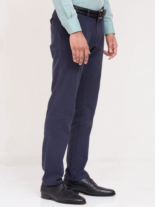 Blue Dobby Textured Trouser-3