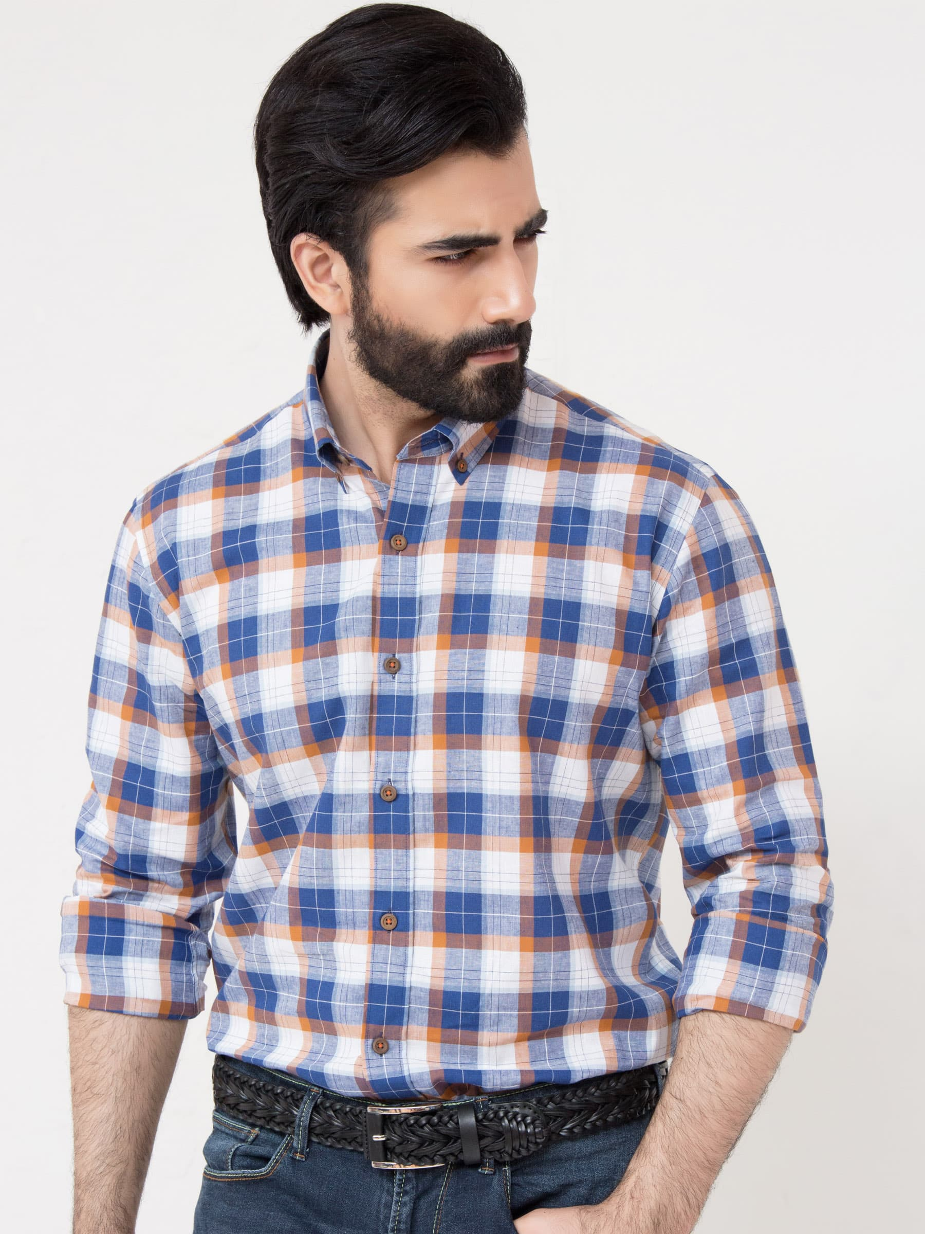 Blue Linen Check Shirt Brumano