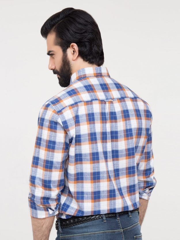Blue Linen Check Shirt-4