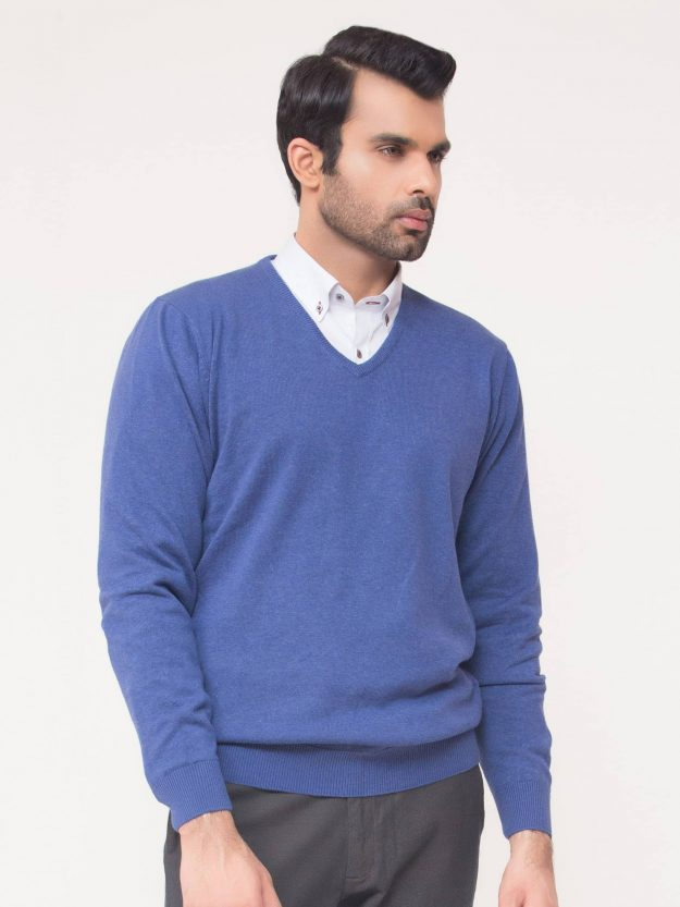 Blue V-Neck Sweater-3