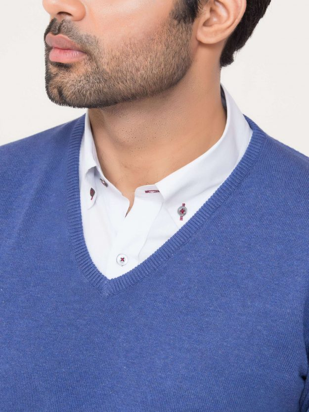 Blue V-Neck Sweater-5