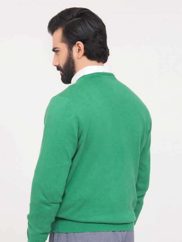 Green V-Neck Sweater-4