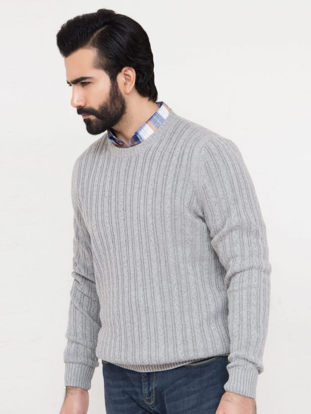 Grey Cable Knit Crew Neck-2