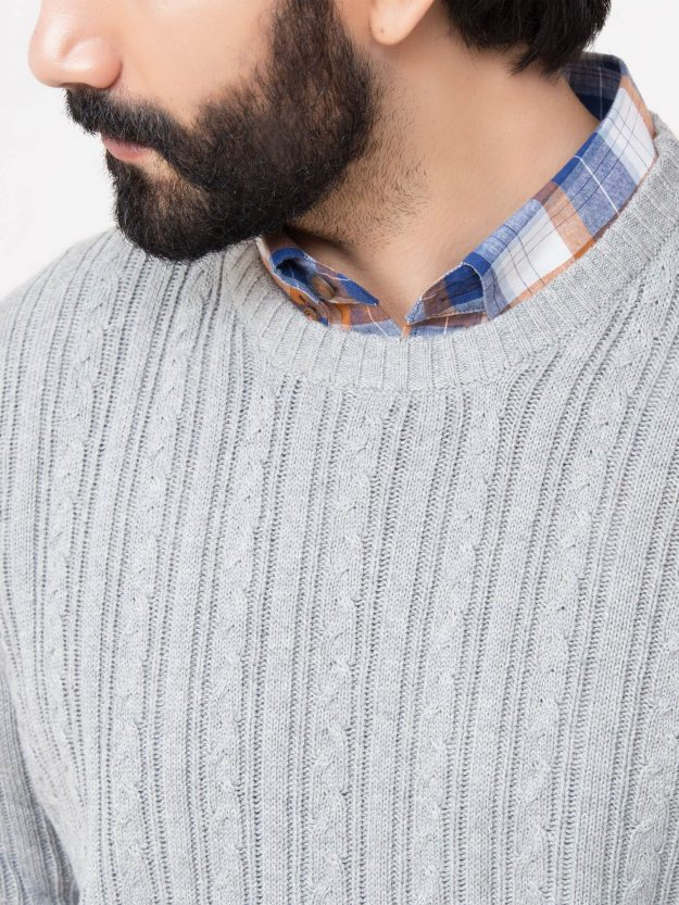 Grey Cable Knit Crew Neck-5