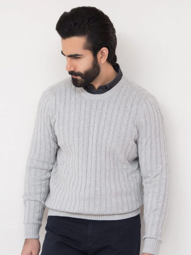 Heather Grey Cable Knit Crew Neck-1