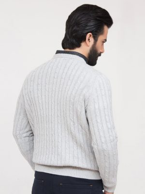Heather Grey Cable Knit Crew Neck
