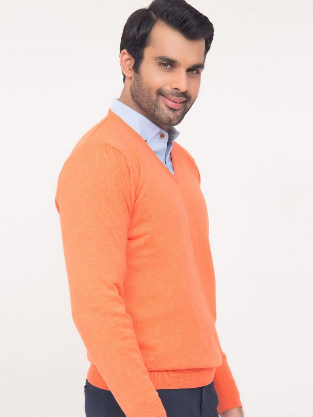 Orange V-Neck Sweater-1