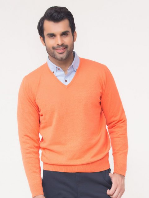 Orange V-Neck Sweater-2