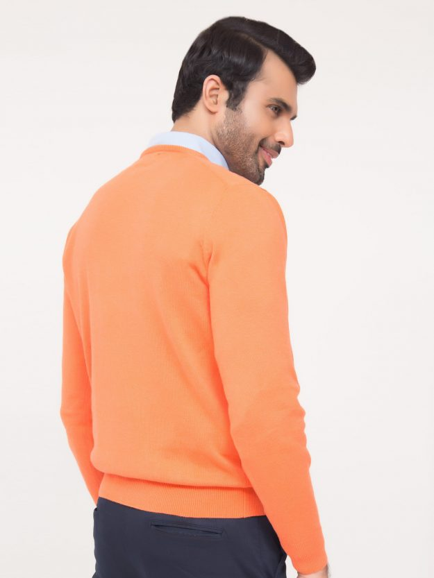 Orange V-Neck Sweater-4