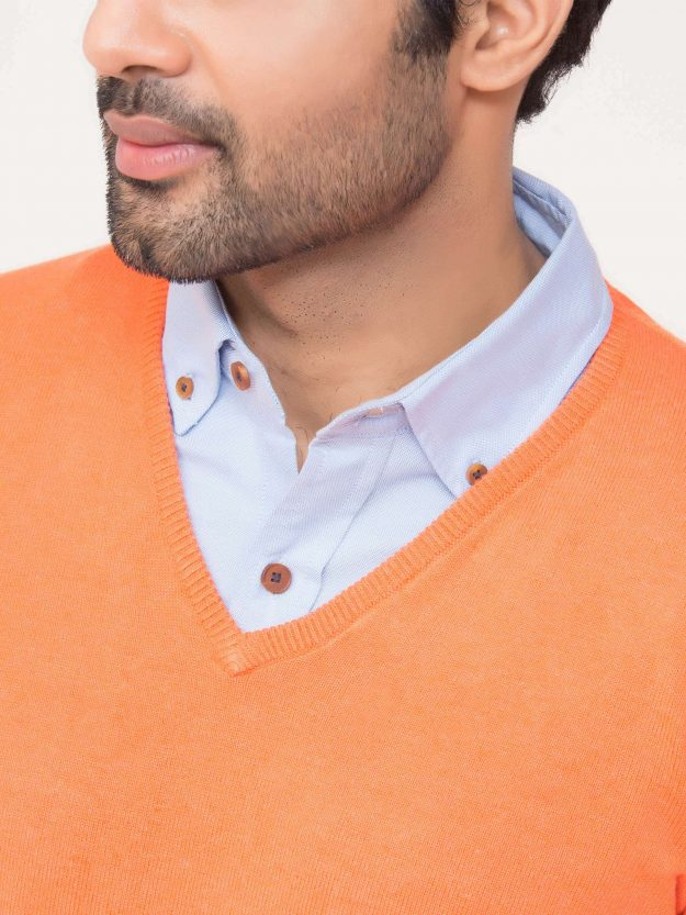 Orange V-Neck Sweater-5