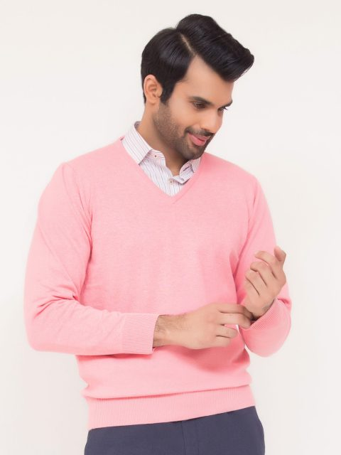 Pink V-Neck Sweater-1