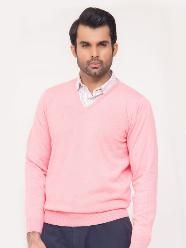 Pink V-Neck Sweater-2