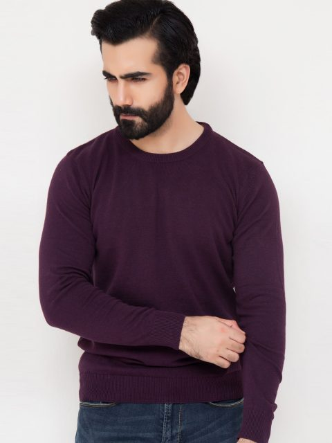 Purple Crew Neck Sweater-1