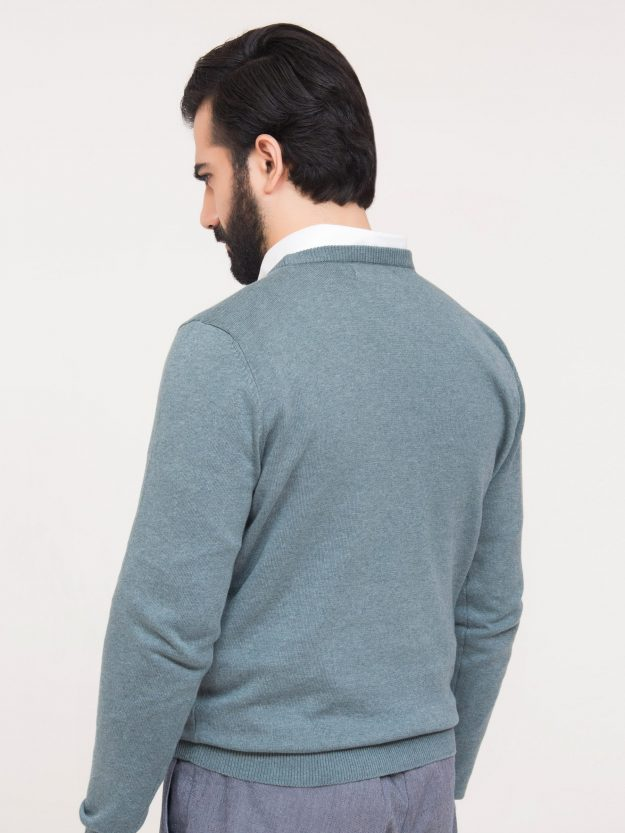 Sea Green Crew Neck Sweater-5