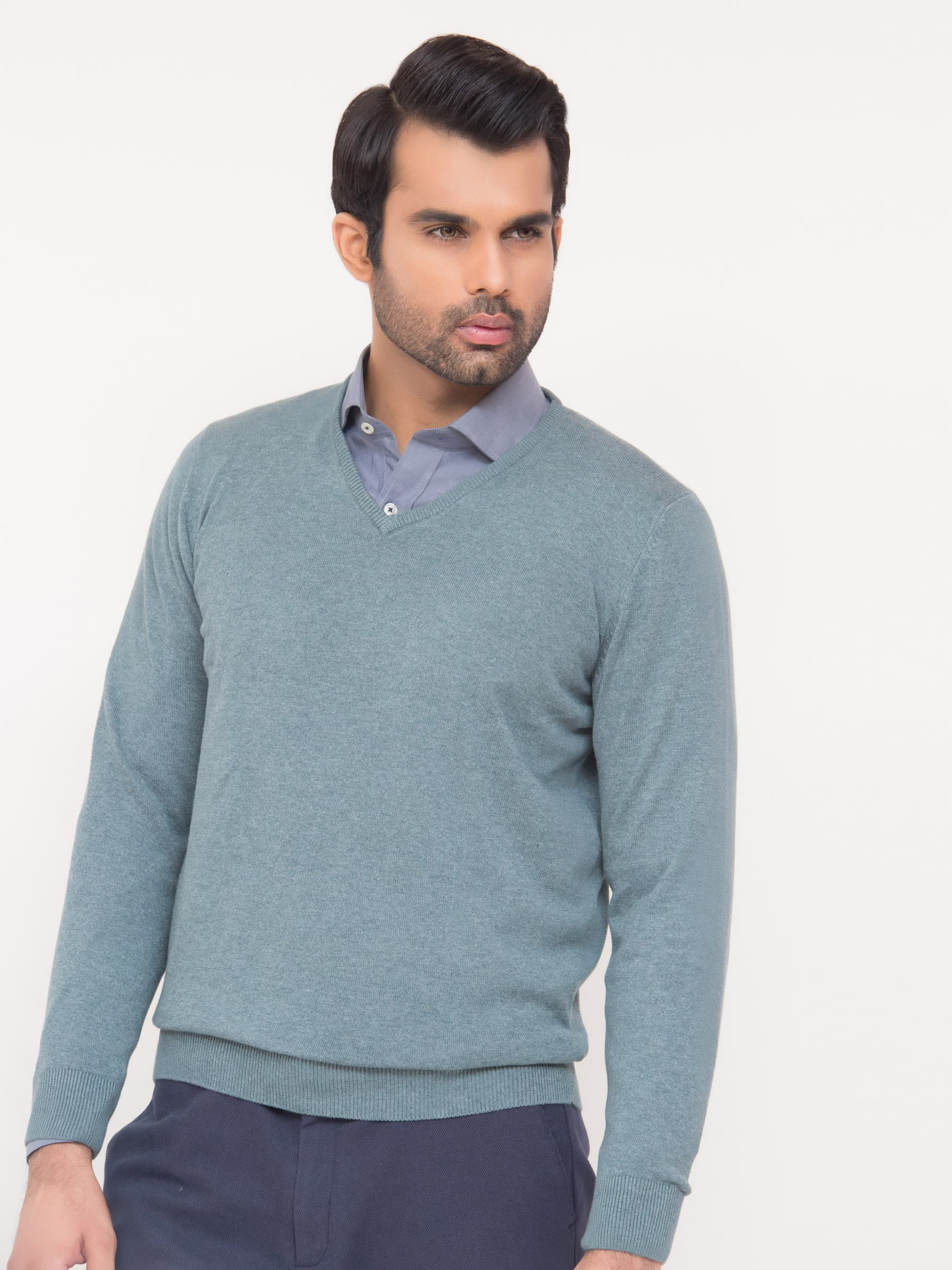 Sea Green V-Neck Sweater | Brumano
